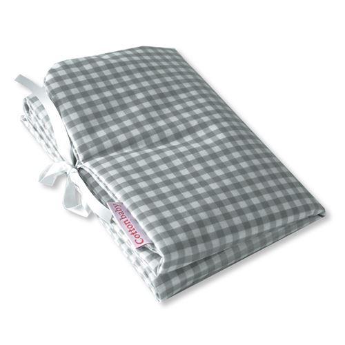 Cottonbaby matelas à langer en coton 30 x 59 cm gris à carreaux