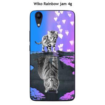 Coque Wiko Rainbow Jam 4G design Chat Tigre Blanc fond bleu rose
