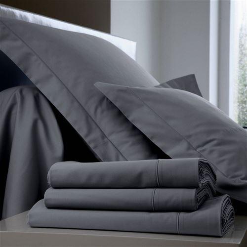 Taie d'oreiller Coton BLANC DES VOSGES - Fusain - 50 x 73 cm