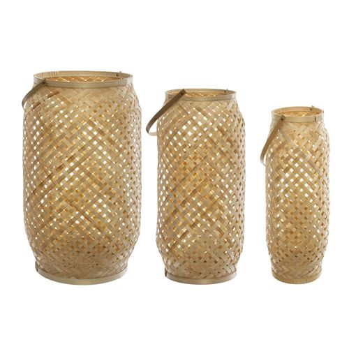 3 Lanternes en bambou ethnique Rituality - Beige