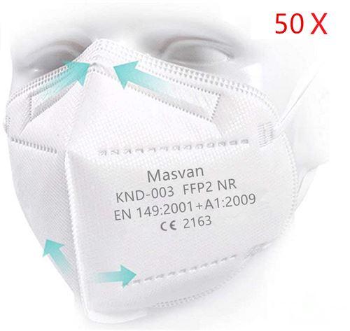 Masques FFP2,Masvan Certifiés CE Filtration Haute 5 Epaisseurs Blanc(50 Pièces)