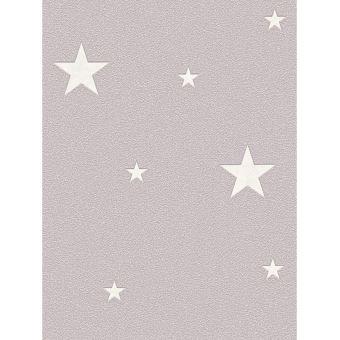 Lueur dans le noir étoiles Papier peint taupe
