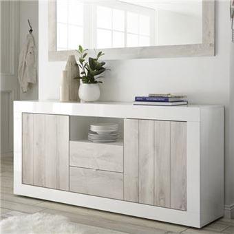 490€89 sur Buffet blanc laqué moderne 180 cm, 2 portes-3 tiroirs ...