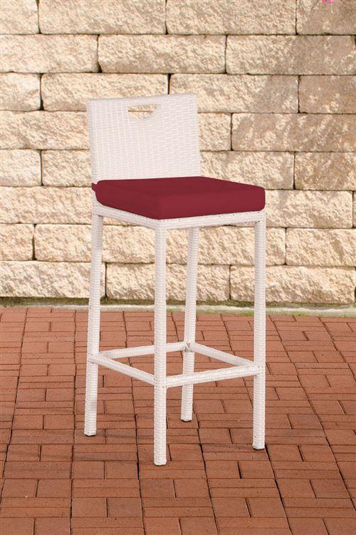Tabouret de bar d'extérieur Mari , Rouge rubis/Blanc