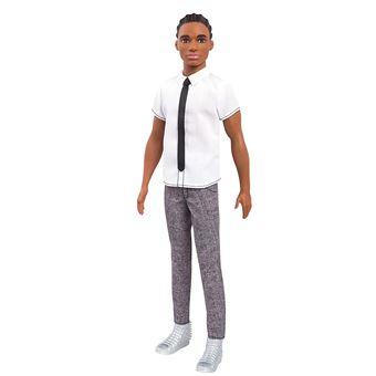 bea68f1a5d51f Barbie Fashionistas poupée Mannequin Ken #10 Brun avec Chemise à Manches  Courtes Blanche, Cravate, Pantalon Gris, Chaussures Blanches, Jouet pour  Enfant, ...