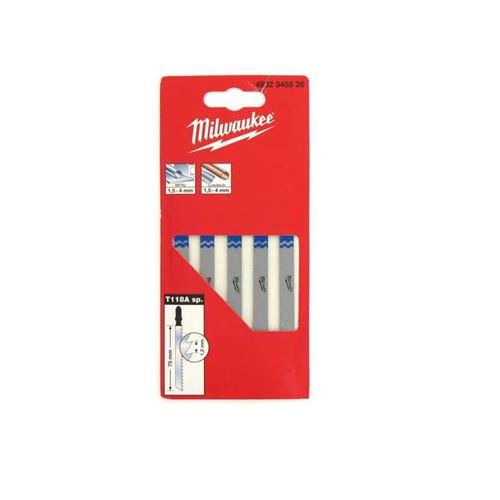 Pack de 5 lames scie sauteuse MILWAUKEE métal 75 mm denture de 1,2 mm 4932345826