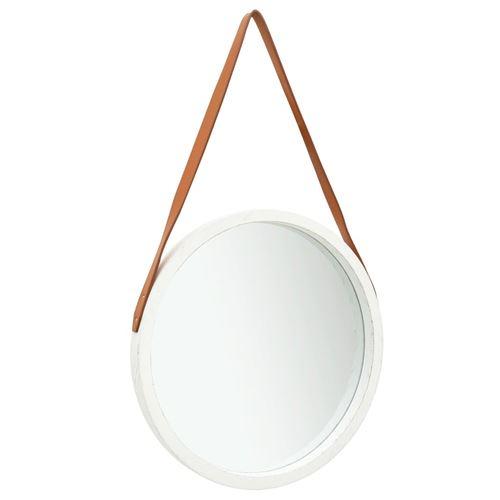 vidaXL Miroir mural avec sangle 50 cm Blanc