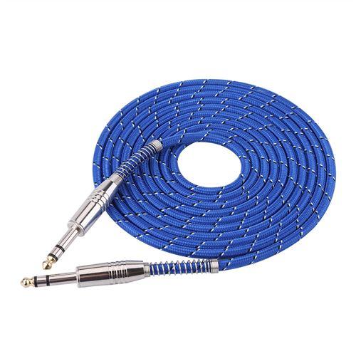 Câble audio mâle à mâle stéréo de 6.35 mm pour guitare électrique stéréo 3m
