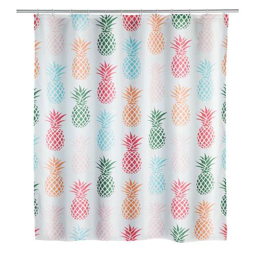 Rideau de douche Ananas - Polyester - 180 x 200 cm - Blanc