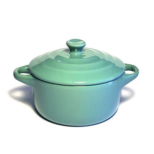 Mini cocotte bleue turquoise double poignée avec couvercle Hobby Cook