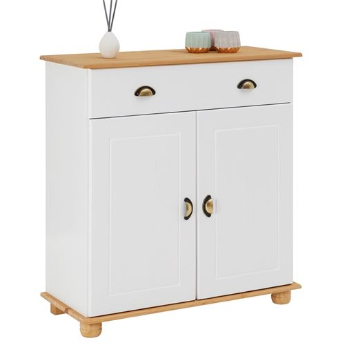 Buffet COLMAR commode bahut vaisselier meuble bas rangement avec 1 tiroir et 2 portes, en pin massif lasuré blanc et brun