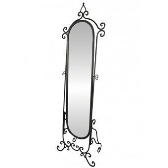 Grand Miroir Psyché sur Pied Glace Orientable Meuble de Chambre ou Salle de  Bain en Fer Noir 34x53x175cm