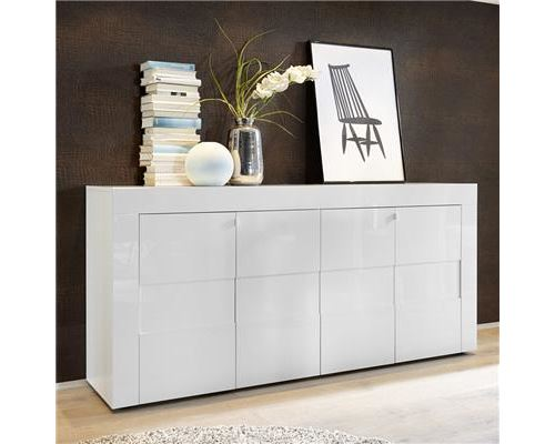 bahut blanc laqué brillant design OKLAND - Blanc - L 181 x P 42 x H 84 cm