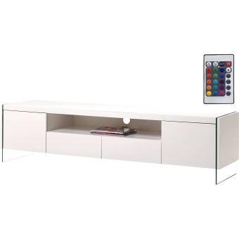 199 sur habitat et jardin meuble tv led clara 180 x 40 x 45 cm blanc laqu meuble tv achat prix fnac
