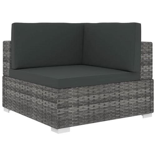 vidaXL Chaise d'angle sectionnelle avec coussins Résine tressée Gris
