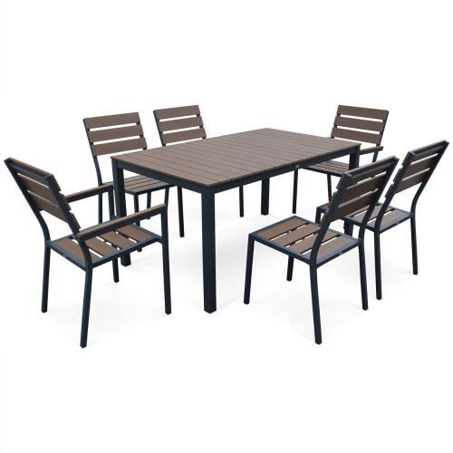 Salon de jardin MONACO en bois composite et aluminium, table ...