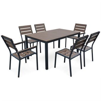 Salon de jardin MONACO en bois composite et aluminium, table 150cm ...