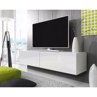 Point Meuble Tv Suspendu 200 Cm Blanc Mat Blanc Brillant