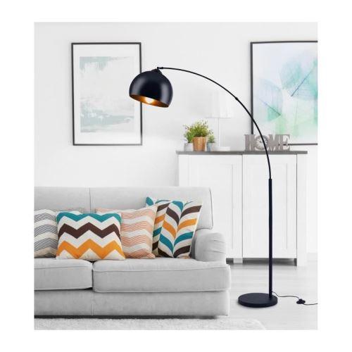 daisy lampadaire arc - métal noir - réflecteur acrylique noir - l 30 x p 110 x h 170