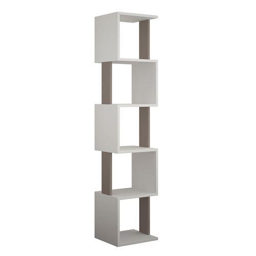 Bibliothèque Piri 161 cm - Blanc et Taupe