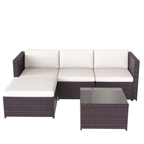 Ensemble de canapé de salon en poly rotin AEE Canapé table basse fauteuils 4 places marron