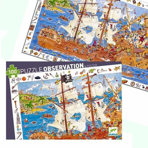 Puzzle Djeco Observation Le Bateau Pirates 100 Pcs 5 Ans +
