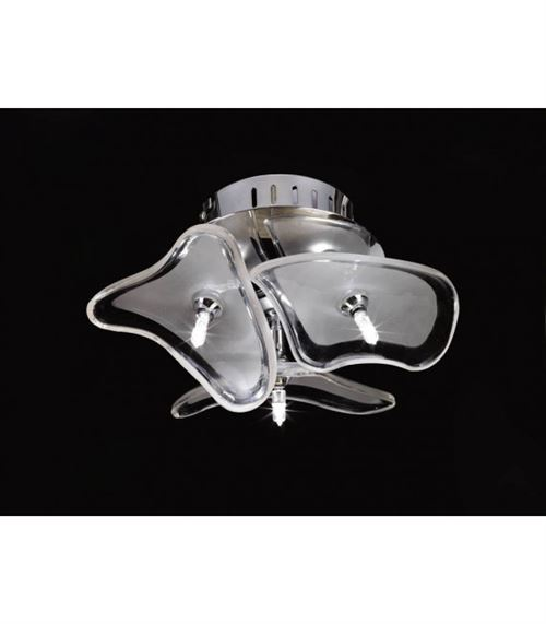 Plafonnier/Applique Otto 3 Ampoules G4 rond, chrome poli/verre dépoli