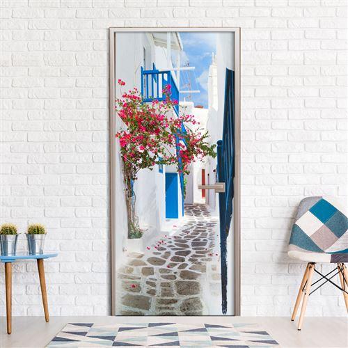 Papier-peint pour porte - Walk through Santorini - Artgeist - 90x210
