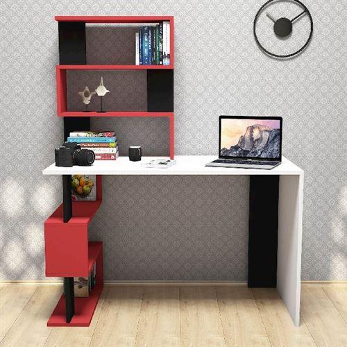 HOMEMANIA Bureau Snap avec Bibliothèque Intégrée, Étagères - pour Bureau, Chambre - Blanc, Rouge, Noir en Bois, 120 x 60 x 148,2 cm