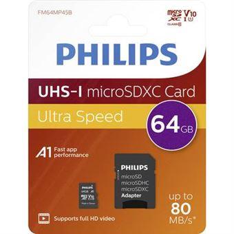 Carte microSDXC Philips 64 Go Class 10 avec adaptateur SD Noir