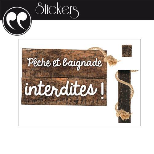 Stickers Mural - Pêche & Baignade Interdites !