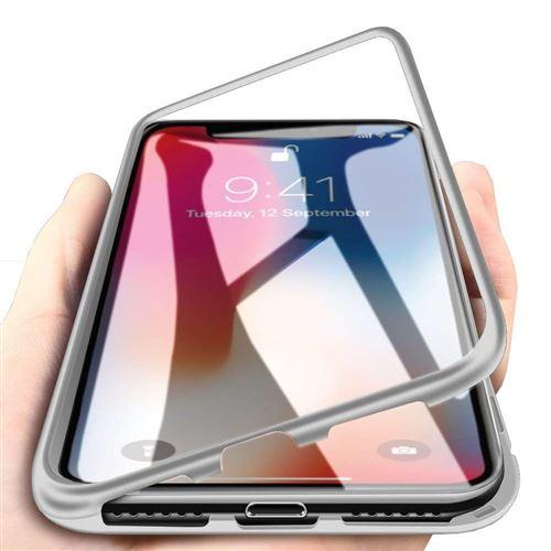 Coque pour Apple iPhone XS MAX Coque Magnetique Argent Verre Trempe Houe Etui 360 Integral Full Protection Metal Film Vitre Ecran Ultra Resistant Phonillico