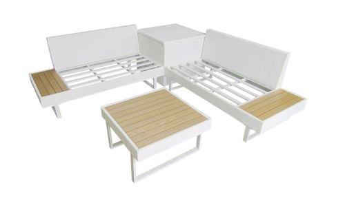 BOBOCHIC Palma - Salon de jardin en angle 5 places - Aluminium / Composite  - Coffre - Blanc/ Gris