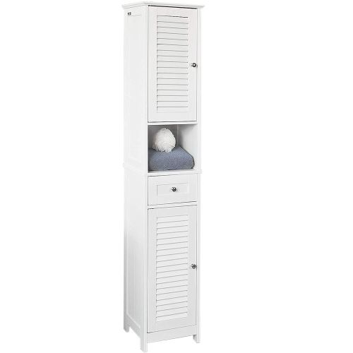Colonne de Salle de Bain en bois Blanc armoire porte tiroir meuble de rangement MDF lamelles 170*32*30cm