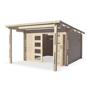 Abri de jardin moderne avec auvent MORMAL en bois FSC de 13 ...