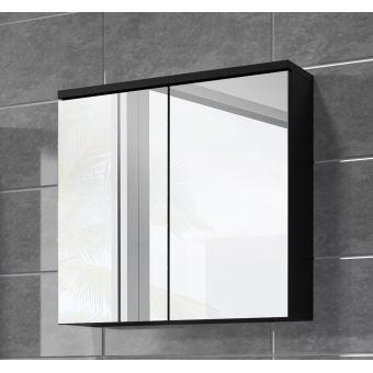Meuble à miroir 60x59 cm Toledo Noir - Miroir armoire miroir salle de bains verre armoire de ...