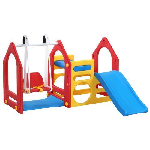LittleTom Portique pour Petits Enfants 1-4 ans incl Balançoire Toboggan Parois d'Escalade Maison de