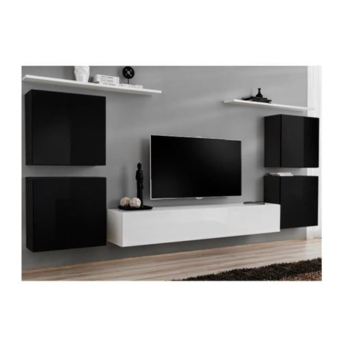 Ensemble meuble salon SWITCH IV design, coloris blanc et noir brillant.