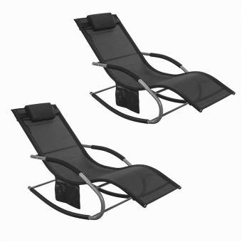 SoBuy® 2X OGS28-Sch Lot de 2 Fauteuils à Bascule Transats de Jardin avec  Repose-Pieds et 1 Pochette latérale, Bains de Soleil Rocking Chair - Noir
