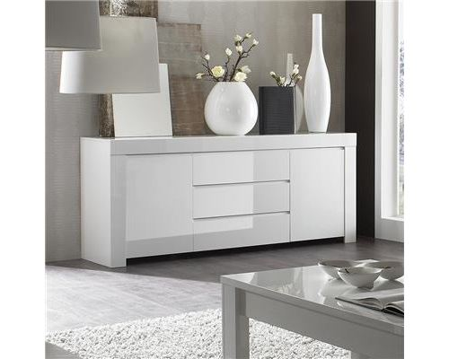 Buffet bahut blanc laqué 2 portes 3 tiroirs design PIETRA - Blanc - L 194 x P 50 x H 84 cm