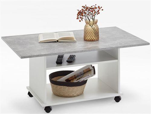 Table basse avec rangements coloris blanc/gris béton LA - L.100 x H.44 x P.60 cm -PEGANE-