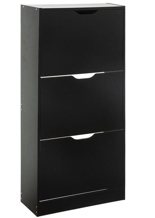 Meuble à chaussures coloris noir - L.60 x P.24 x H.118 cm -PEGANE-