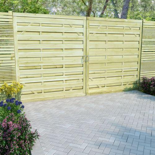 Portillons de jardin 2 pcs Bois de pin imprégné FSC 150x175 cm - Clôtures  et barrières - Portillons | Vert | Vert