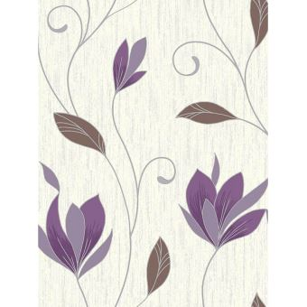 Synergy Floral briller papier peint prune Vymura M0778