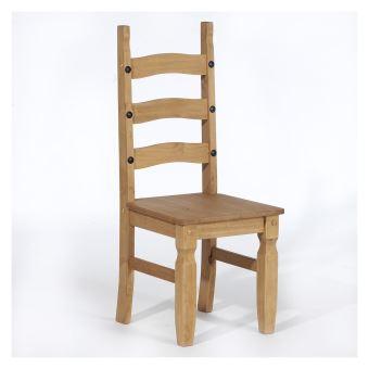 Lot de 2 chaises de salle à manger style mexicain pin massif ...