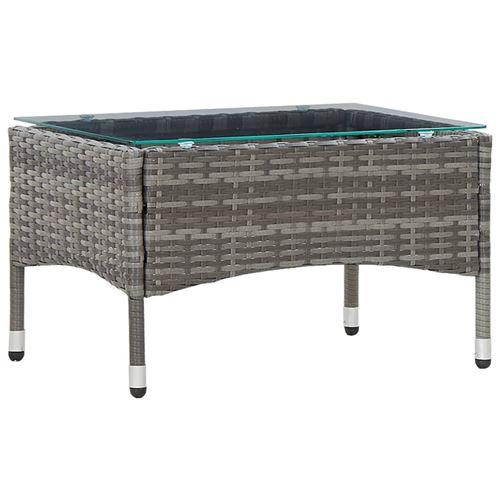 Table basse Gris 60x40x36 cm Résine tressée