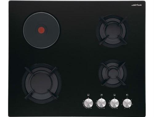 Airlux AV647HBK - Table de cuisson gaz et électrique - 4 plaques de cuisson - Niche - largeur : 55 cm - profondeur : 47 cm - verre noir