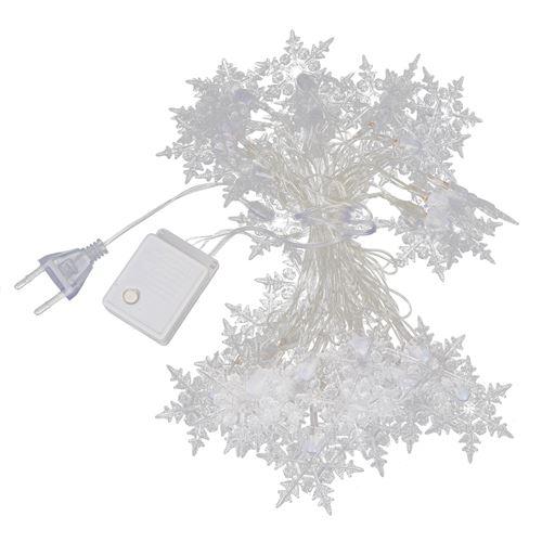 Guirlande lumineuse 40LED flocon de neige pour décor Noël extérieur