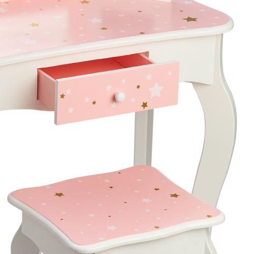 Teamson Meuble Coiffeuse Table De Maquillage Bois Enfant