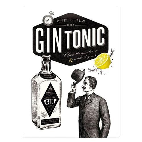 Gin Tonic Cocktail plaque décoration vintage rétro - 40 x 30 cm